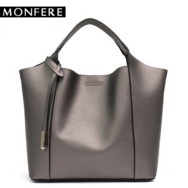 MONFERE Women Real Split Leather Handbags Set Casual Top-handle Womans Shoulder Bags Ladies Bucket Tote Crossbody Messenger Bag monfere 100% genuine leather bucket bag women 2018 casual top handle shoulder bags brand designer ladies crossbody messenger bag