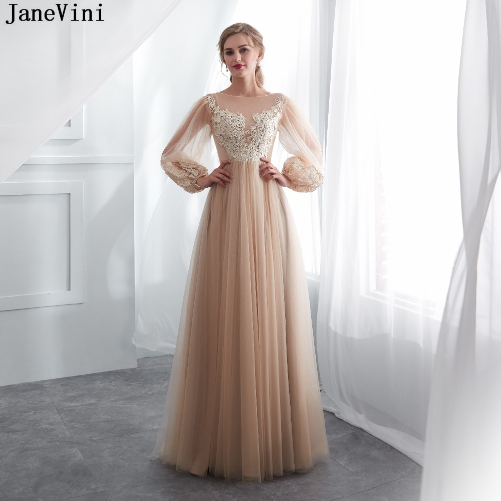 JaneVini 2018 Elegant   Bridesmaid     Dresses   Champagne Long Sleeves A Line Lace Appliques Zipper Back Women Formal Tulle Prom Gowns