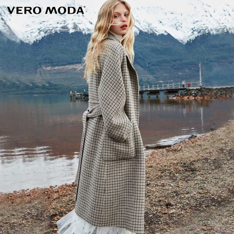 Vero Moda Women's 2019 new double-sided 100% wool long plaid woolen overcoat | 318427508
