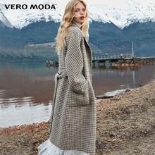 Vero Moda Women's new double-sided 100% wool long plaid woolen overcoat | 318427