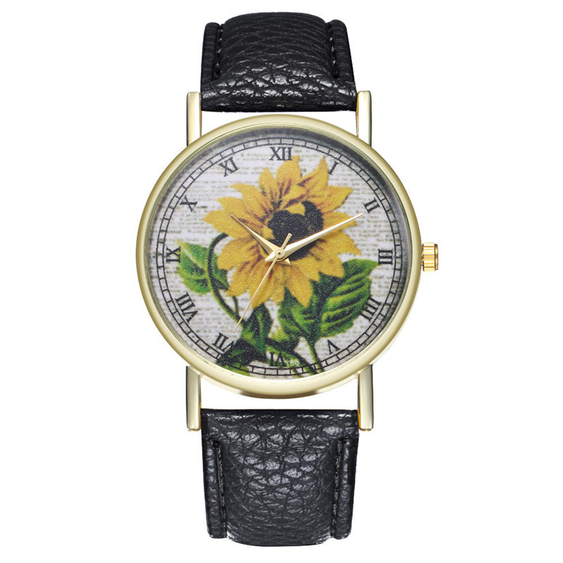 Top Modern WomenS Watch Simulation Quartz Leather Female Watch High Quality Casual Sunflower Print Dress Ladies Clock Gift #WTop Modern WomenS Watch Simulation Quartz Leather Female Watch High Quality Casual Sunflower Print Dress Ladies Clock Gift #W