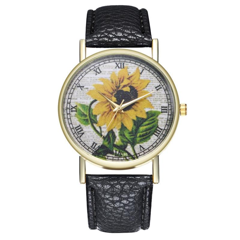 Top Modern Women'S Watch Simulation Quartz Leather Female Watch High Quality Casual Sunflower Print Dress Ladies Clock Gift #W