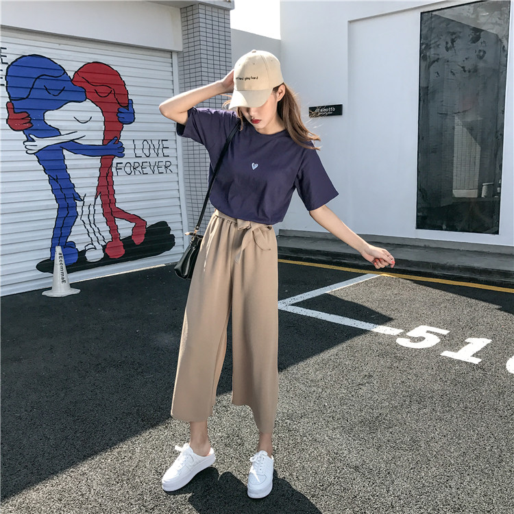 19 Women Casual Loose Wide Leg Pant Womens Elegant Fashion Preppy Style Trousers Female Pure Color Females New Palazzo Pants 5