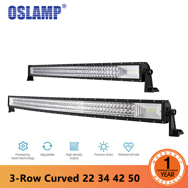 Oslamp Tri-Row 22 34 42 50inch Curved Work Light Bar offroad led bar for Car SUV 4WD Truck Combo led working lights car-styling auxmart triple row 22 34 42 50 curved