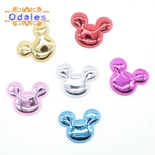 60Pcs Kawaii PU Mouse Appliques for Children DIY Clip Accessories Scrapbooking Flashing Cake Toppers Patches Giftbox Decorations