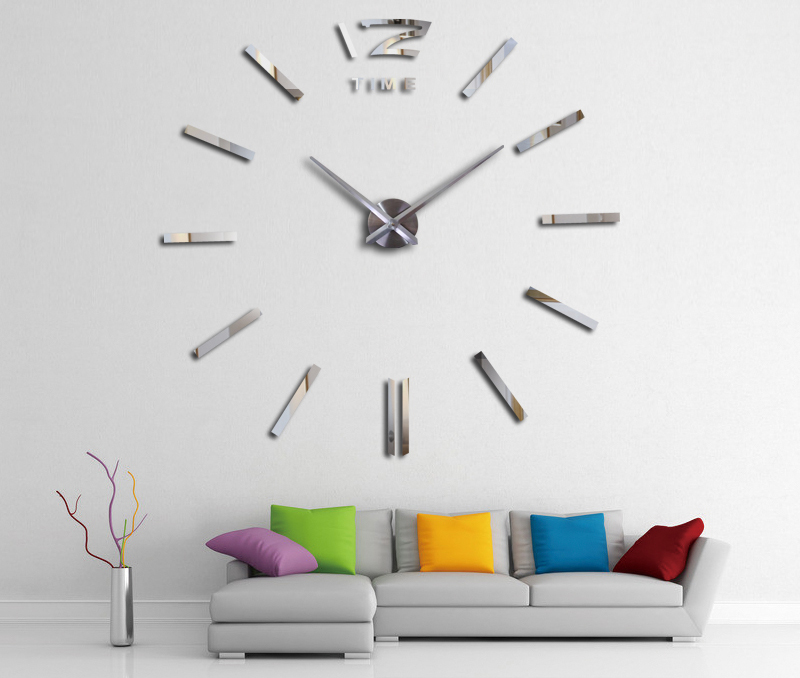 16 new hot sale wall clock watch clocks 3d diy acrylic mirror stickers Living Room Quartz Needle Europe horloge free shipping 1