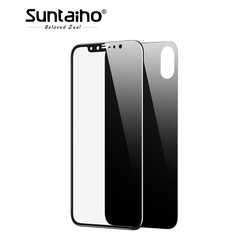 Suntaiho 4D Full Body Film Tempered Glass for iPhone X 5D Cover Front+ 4D Back Screen Protector for iPhone X Glass Film