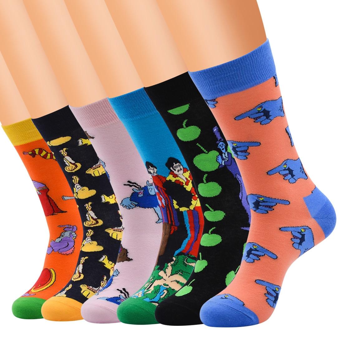 2018 New Men's Funny Colorful Combed Cotton Socks Happy Harajuku Cartoon Socks Male Casual Business Wedding Gift Socks