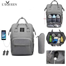LEQUEEN Baby Diaper Bag With USB Interface Travel Care Mummy Large Capacity Waterproof Stroller