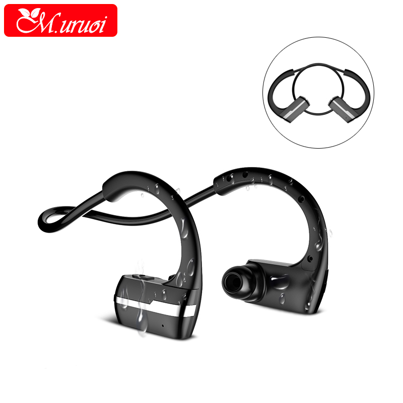 M.uruoi Earpiece Bluetooth Headset Sport Headfone Handsfree Wireless Headphones For iphone Xiaomi Bass Stereo Earphone With MIC universal sport stereo handsfree wireless bluetooth 4 0 stereo headphones sport earphone headset for samsung iphone