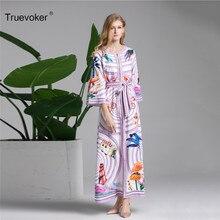 Truevoker European Designer Long Dress Women s Long Sleeve Abstract Printed  Maxi Holiday Resort Dress Robe Femme Ete 3XL 298f258cd44d