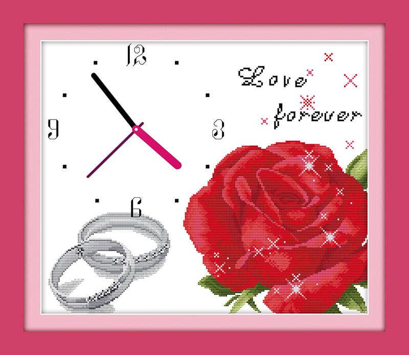 Amor para siempre kit de punto de cruz 14ct 11ct cuenta impresión lienzo pared reloj costura bordado DIY hecho a mano costura