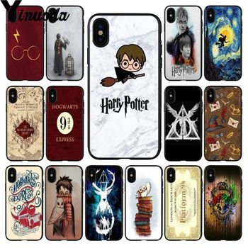 Yinuona Harry Potter Hogwarts  Newly Arrived Black Cell Phone Case for Apple iPhone 8 7 6 6S Plus X XS MAX 5 5S SE XR Cover