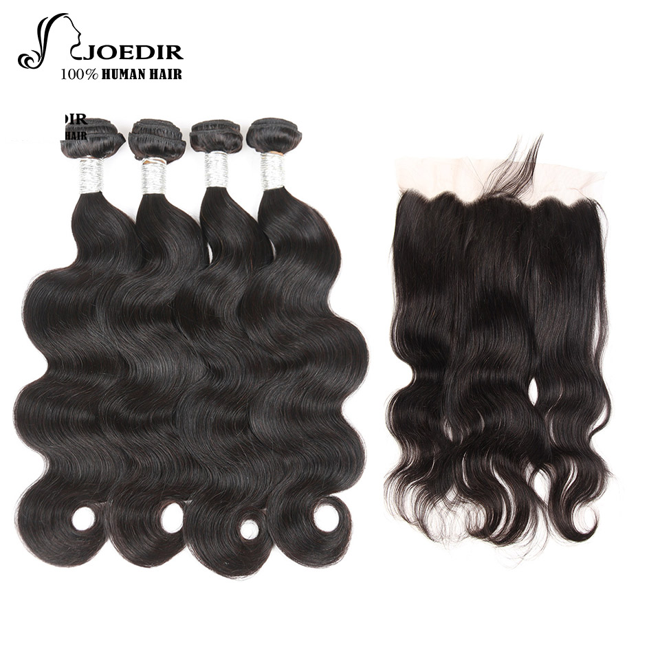 Joedir Hair Non-Remy 4 Bundles Brazilian Body Wave With Closure 5 PC/lot Bundles With Ear To Ear Lace Frontal Natural Black