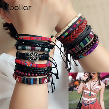 Ybollar 3/4pcs Hippie Punk Braided Rope Wrap Black Leather Vintage Wooden Beads Layers Bangles Bracelets Sets for Man