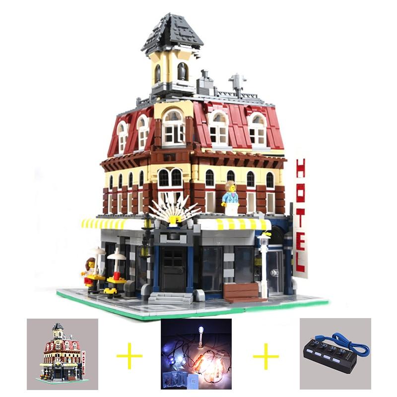 Building Blocks City Street 2133Pcs 15002 Cafe Corner Model Led Light Set For Legoingly 10182 Toys Creator City Street Lighting самокаты street surfing street surfing city kicker