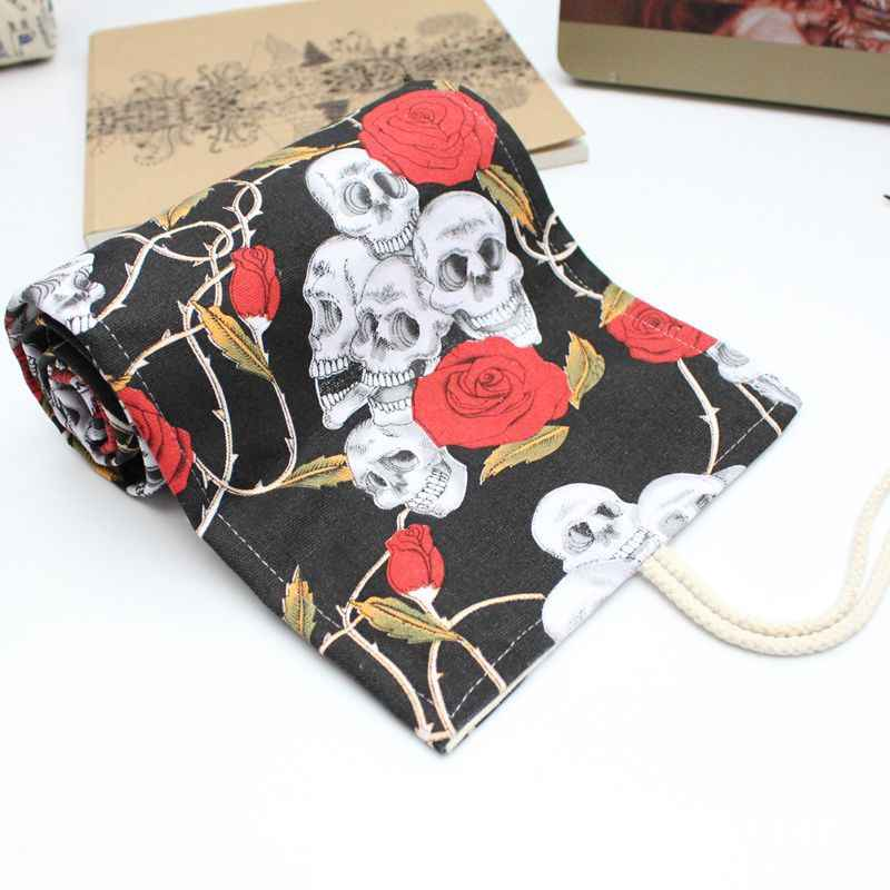 Creative Rose ม้วนกระเป๋าใส่ดินสอ Kawaii 12/24/36/48/72 หลุมผ้าใบ Penal Pencilcase สำหรับหญิงเด็กปากกากระเป๋าเครื่องเขียน