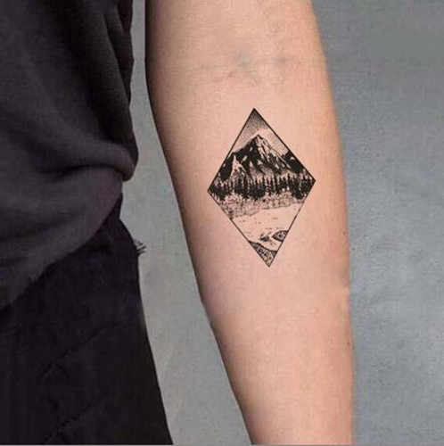 ff86b6a017d1d Waterproof Temporary Fake Tattoo Stickers Grey Geometric Mountain Forest  Design Body Art Make Up Tools