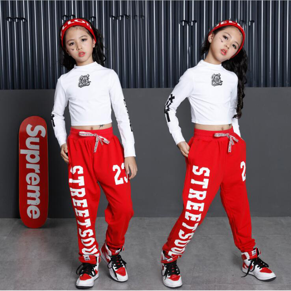 Fête des enfants spectacle Performance Costumes enfants vêtements Hip Hop Dancewear tenues filles moderne Jazz danse Costumes ensembles Top + pantalon - 4