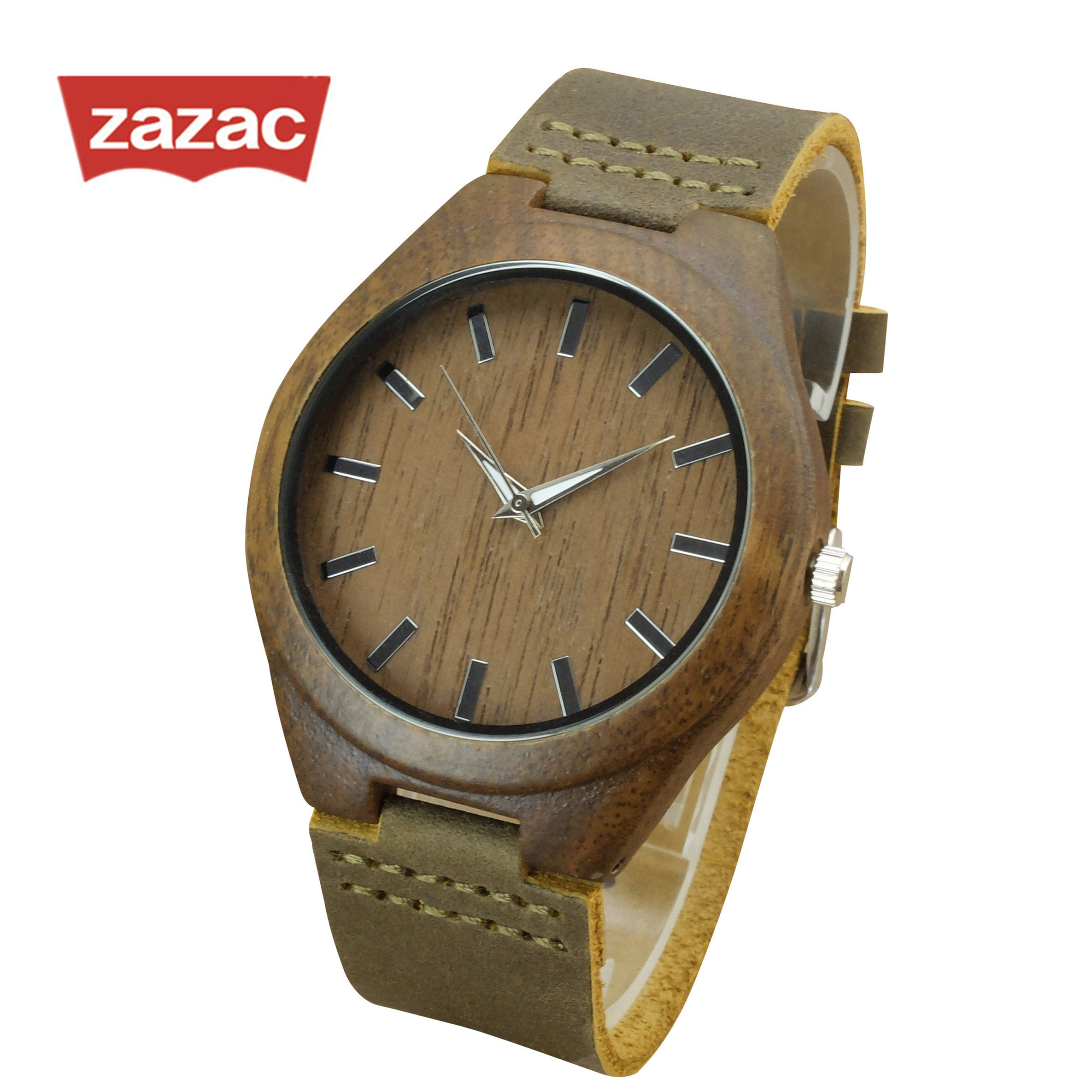 ZAZAC Casual Black Wood Watches Women fashion watch 2017 Top Brand Luxury big Round Dial wooden ladies watch Relogio Feminino ladies women s fashion style casual watch leather round wristwatch heart love pattern dial with pink white black yellow relogio