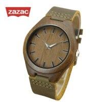 ZAZAC Casual Black Wood Watches Women Fashion Watch 2017 Top Brand Luxury Big Round Dial Wooden