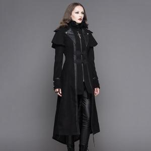 Image 2 - שטן אופנה Steampunk סתיו חורף נשים גותי ארוך מעיל פאנק שחור ארוך שרוולים עבה מעילי מעילי מעילי Slim