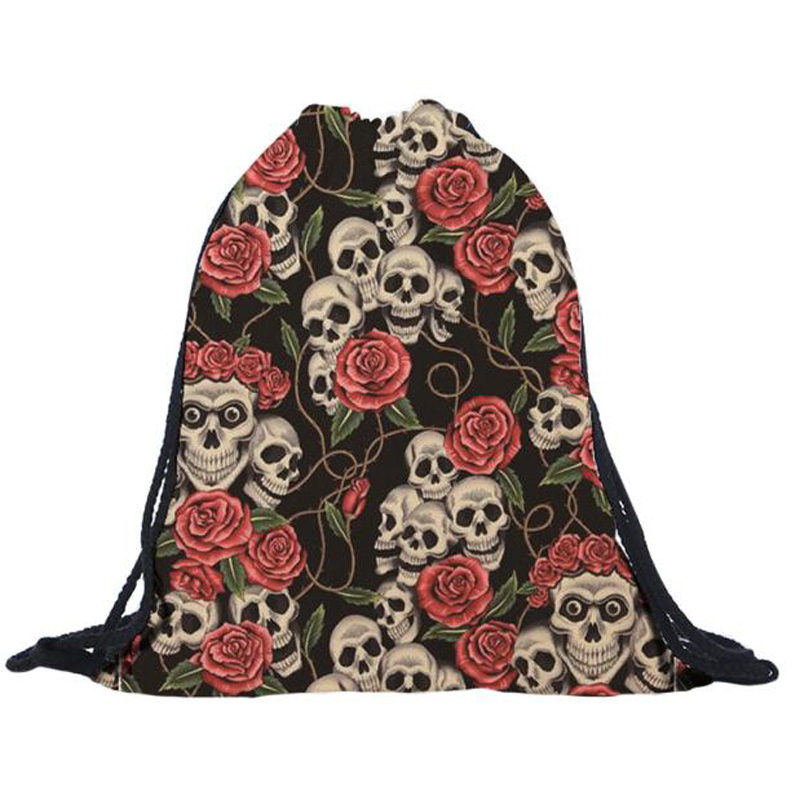 Fashion design Skull DrawString bag for women ladies shopping bags school  supplies Drawstring Backpack mochila feminina#XYL-in Backpacks from Luggage  & Bags ...