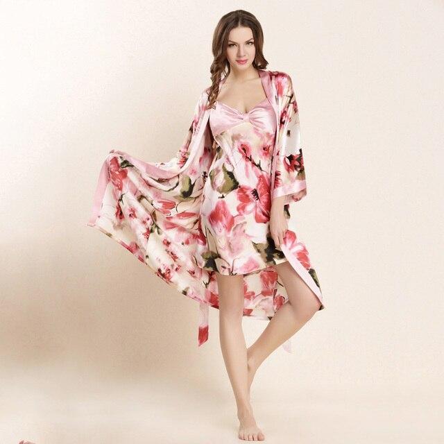 عالية الجودة الحرير الحقيقي النوم رداء مجموعات الإناث مثير الطبيعية لباس نوم من الحرير النساء الموضة المطبوعة طويلة الأكمام البشاكير W4201