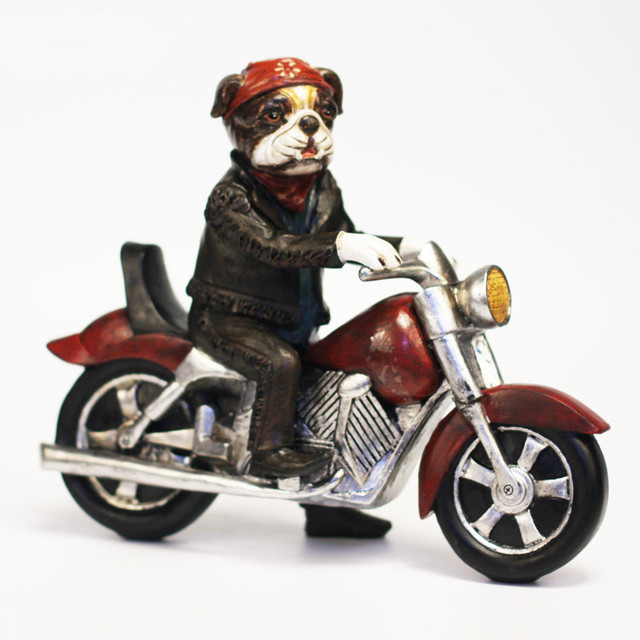 US $131 86 |Hot Creative Personality Boston Terrier Dog Harley Locomotive  Motorcycle Resin Dog Ornaments Figurine Statue Best Gift-in Figurines &
