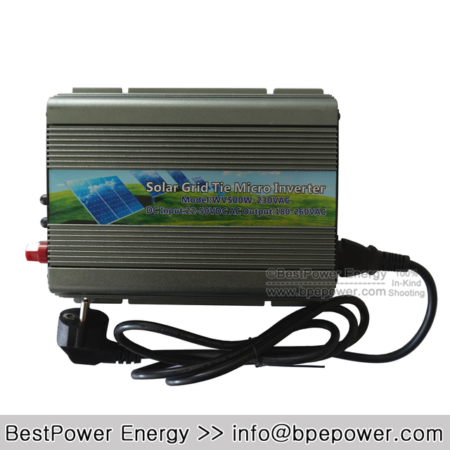 500W Grid Tie Micro Solar Inverter, 22~50V DC to AC 180~260V Pure Sine Wave Inverter Suitable for 500-600W 24V 36V PV Module