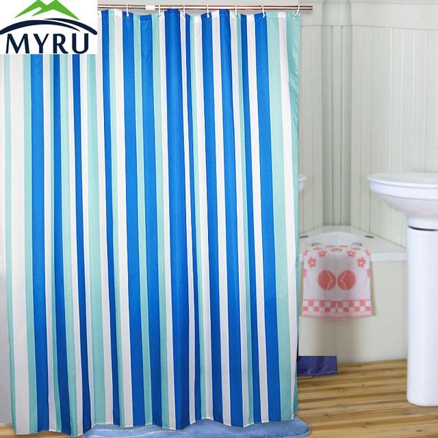 MYRU Mediterranean style blue striped shower curtain waterproof ...