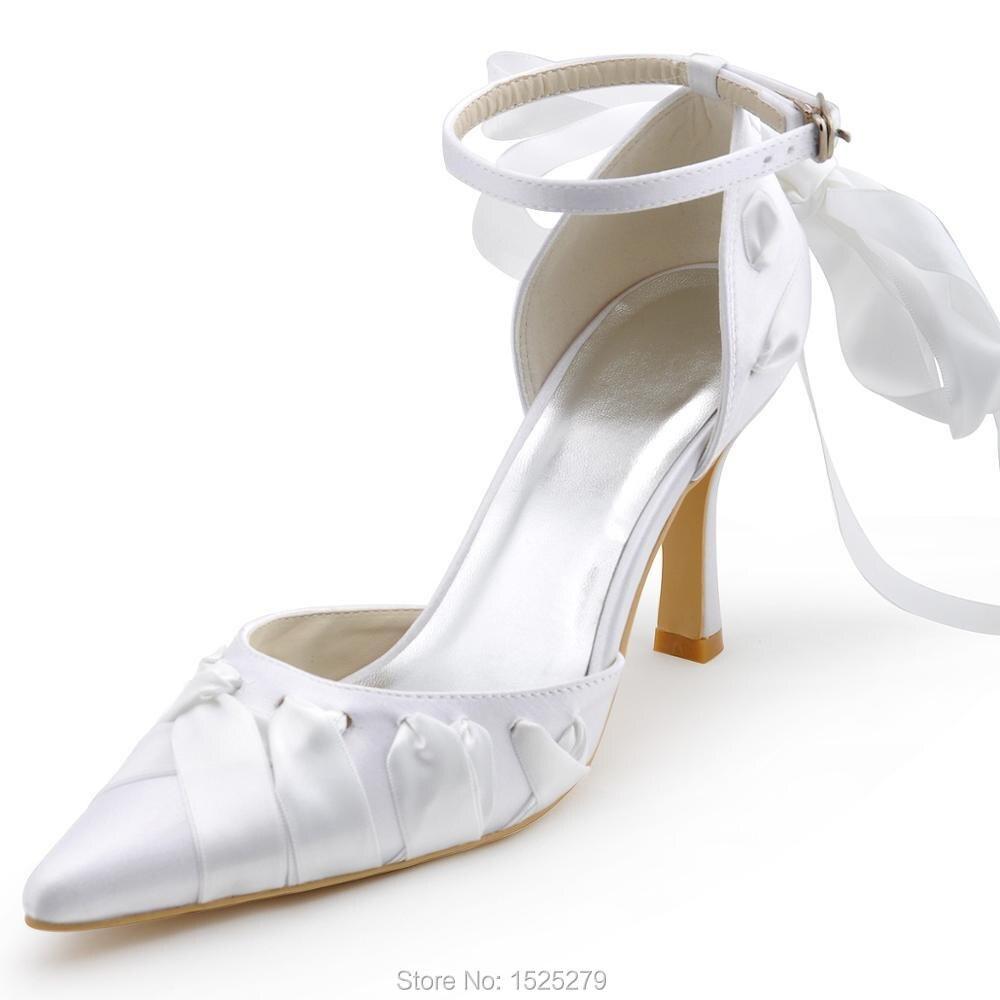 ФОТО A0563 White Ivroy Purple Women Bride Bridesmaids Dress Court Pumps Pointed Toe Stiletto Heels Buckle Satin Wedding Bridal Shoes