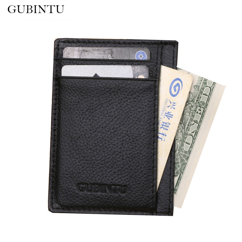 GUBINTU Genuine Cowhide Leather Wallets Men Purses Business High Quality Male Wallet Quality carteira masculina--BID075 PM15 baellerry high quality men leather wallets vintage male wallet three hold purse for men short purses carteira masculina d9150