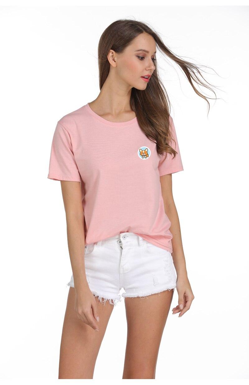 e7f5f61aef5 New Korean Style Summer Harajuku T Shirt Women Kawaii Corgi Clothes Tops  O-Neck Tee Shirt Femme Funny Dog Print Camiseta Mujer