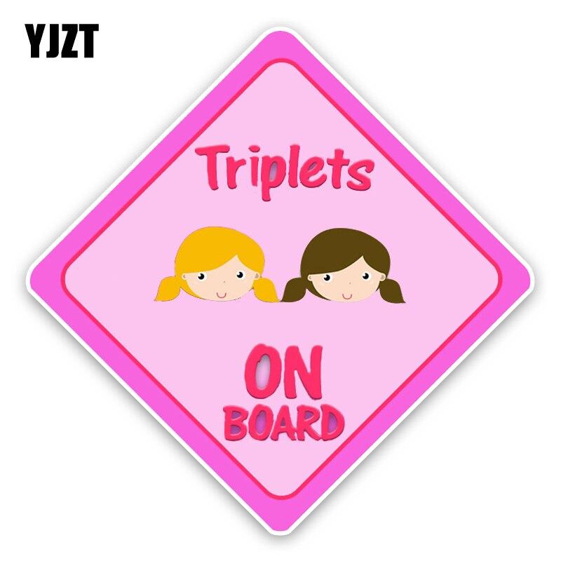 YJZT 12,9*12,9 см интересные Близнецы Детские на борту Цветной Предупреждение знак украшения C1-5675