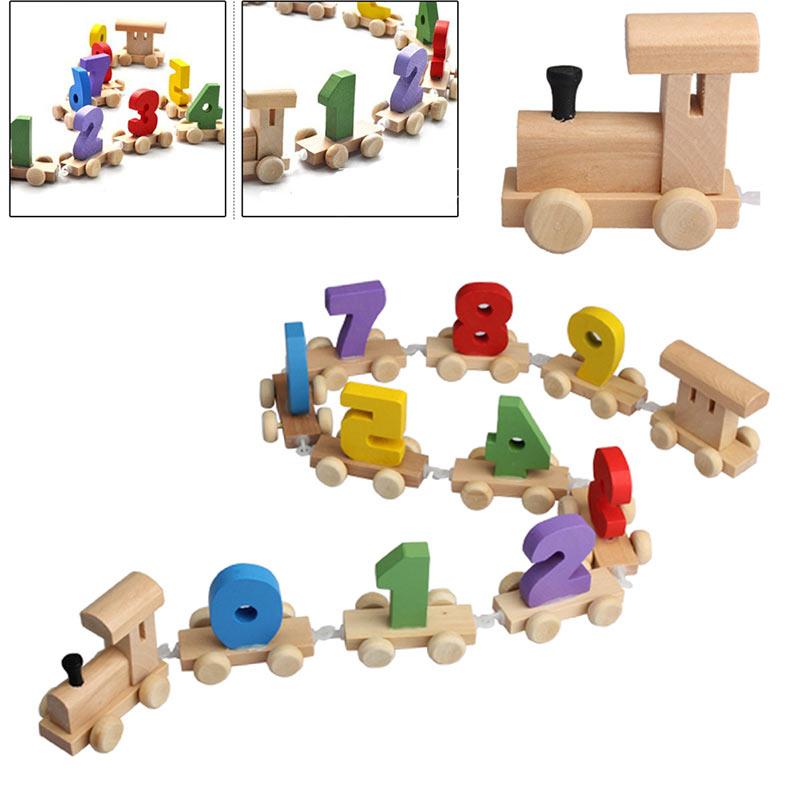 Hot Selling Digital Number Wooden Train Figures Railway Kids Wood Mini Toy Educational