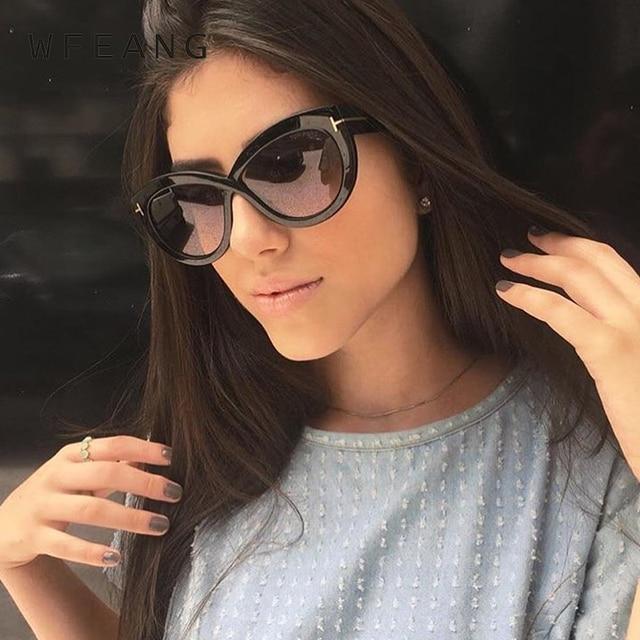 4a783003e18 WFEANG Cat Eye Sunglasses For Women Pink Mirror Shades Female Sun Glasses  Black White Coating Cateye