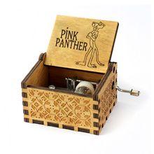 Anonymity Античная резная деревянная рукоятка Розовая пантера музыкальная шкатулка Рождественский подарок на день рождения вечерние подарки для детей на год