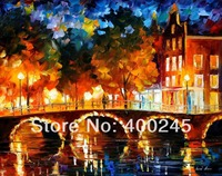 Gift oil canvas painting of AMSTERDAM OLD BRIDGE Landscape Art in High quality 100%Hand painted Home Decor with Free Shipping