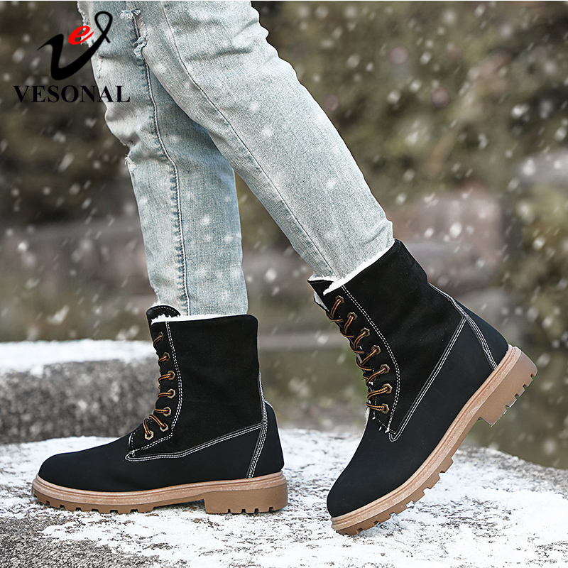 Image 4 - VESONAL 2019 Winter Suede Leather Warm Snow Shoes Women Boots mid calf Plush Fur Velvet Boots Female Booties Woman Footwear-in Mid-Calf Boots from Shoes