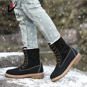 Image 4 - VESONAL 2019 Winter Suede Leather Warm Snow Shoes Women Boots mid calf Plush Fur Velvet Boots Female Booties Woman Footwear