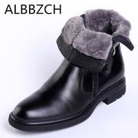 New Winter Mens Genuine Leather Snow Boots Inside Wool Warm Quality Ankle Boots Business Dress Work Chelsea Men Boots Size 38 44