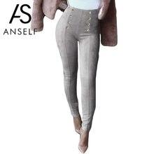 13c0e7bbe9 Anself alta cintura Faux Suede Pantalones mujeres invierno elástico  estiramiento legging delgado más Pantalones botón sólido