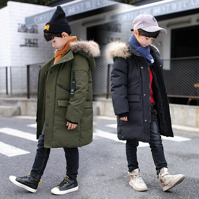 Boys Down Jackets Boys Coats 2018 Teenager Boys Parkas Winter Long Thick Warm Cotton Down Jackets Fur Collar Hooded Kids Outwear 2017 new long hooded winter wadded parkas slim warm padded female jackets thick overcoat outwear winter cotton coats fp0025