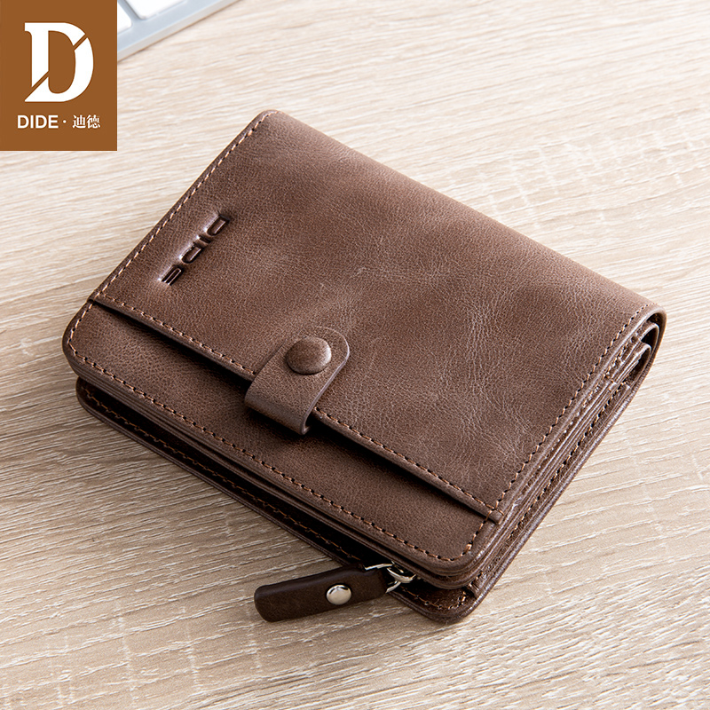 DIDE Brand 2018 Men Wallet Short Clutch Bag Young Men Casual Wallets Genuine Leather Male Wallet Card Holder coin purse money men wallets famous brand luxury genuine leather short bifold wallet mens clutch card holder male purse money bag coin pouch