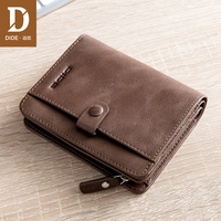 DIDE Brand 2018 Men Wallet Short Clutch Bag Young Men Casual Wallets Genuine Leather Male Wallet Card Holder coin purse money