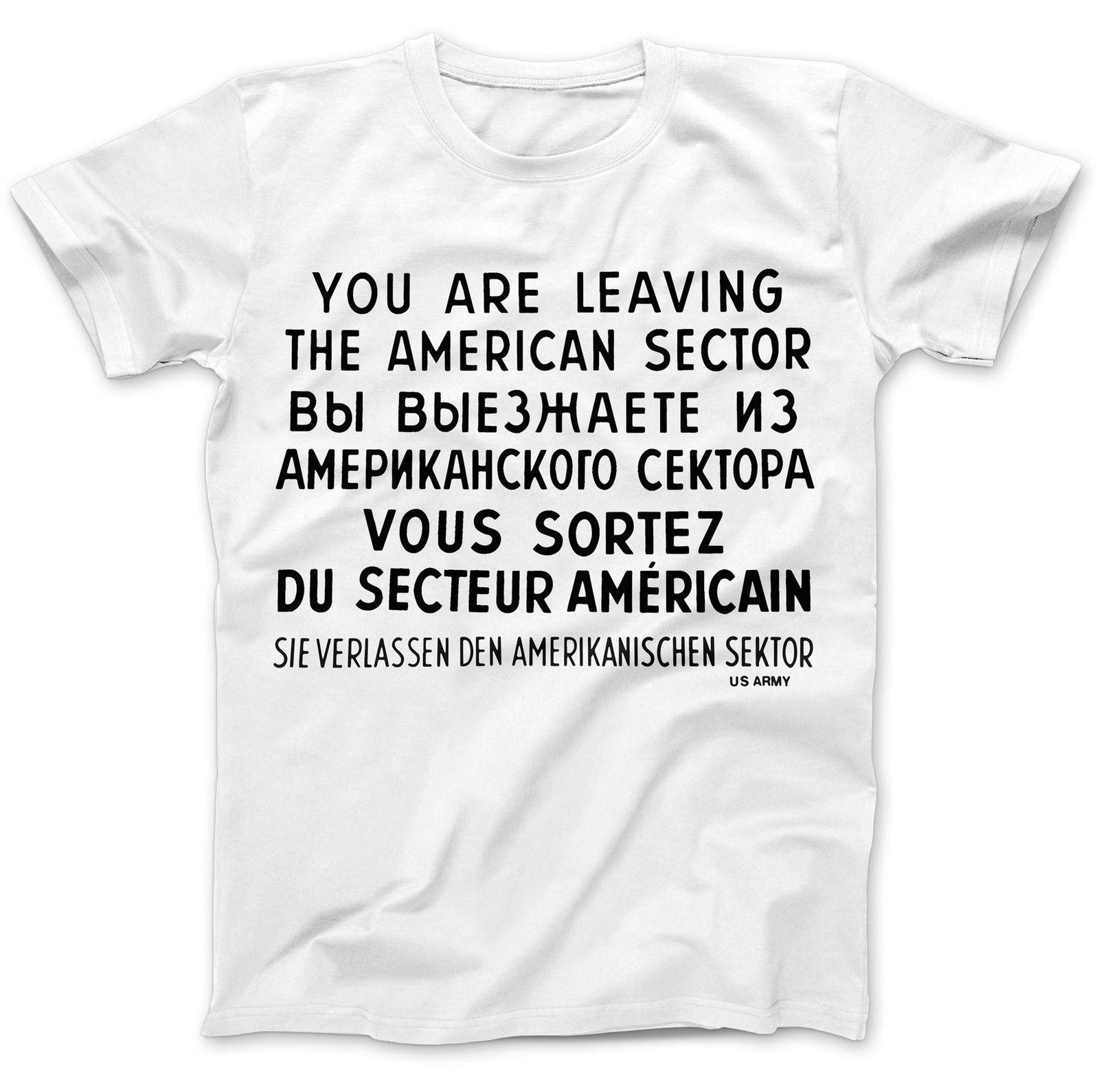 Checkpoint Чарли Берлин футболка 100% хлопка Премиум WW2 коммунизм мужские Hipster корот ...