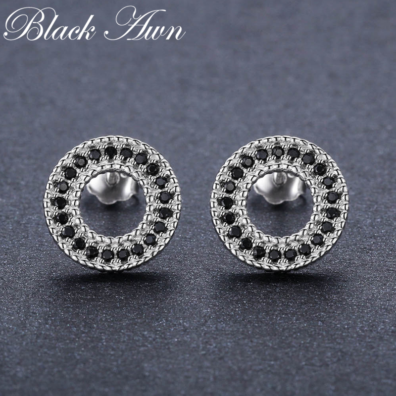 Classic 1.8g 925 Sterling Silver Natural Black Spinel Engagement Stud Earrings For Women Fine Jewelry Bijoux T199