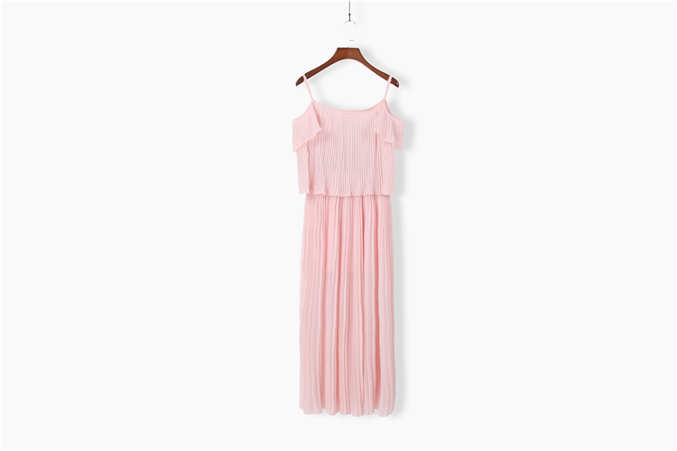 Summer 2017 Long Beach Dress Asian Woman Nude Pink Shoulder Strap Pleated Lotus Flapper Dress Beautiful Elegant Robe De Plage