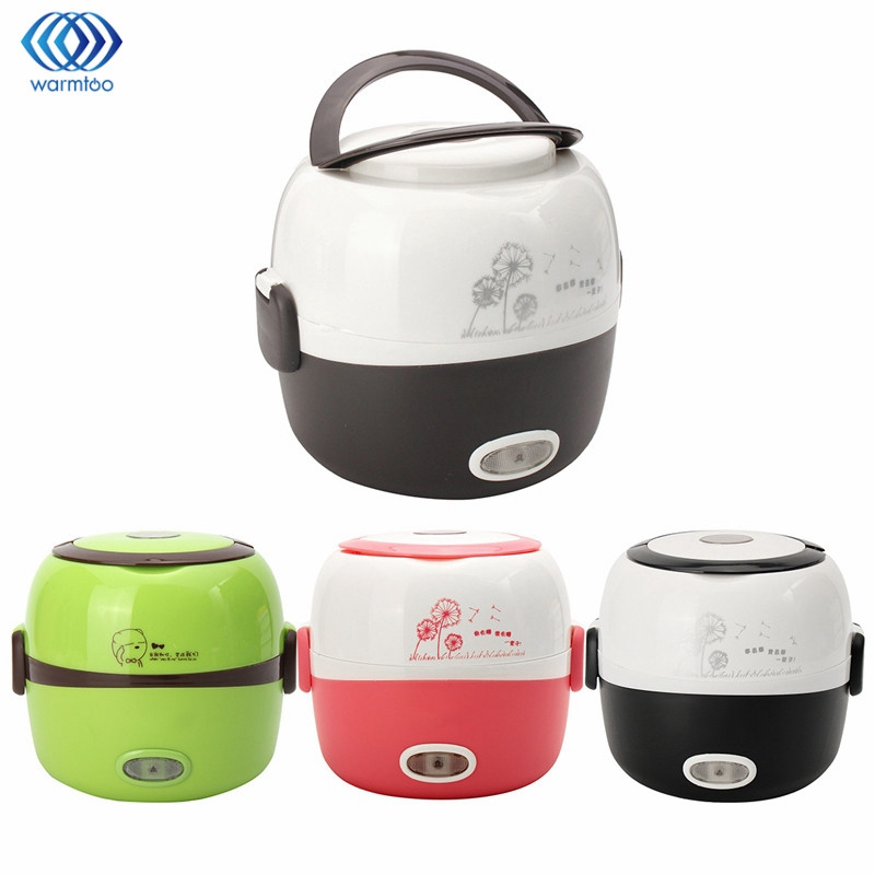 Portable Electric Rice Cooker 1.3L Insulation Heating Electric Lunchbox 2 Layers Steamer Multifunction Automatic Food Container parts for electric rice cooker